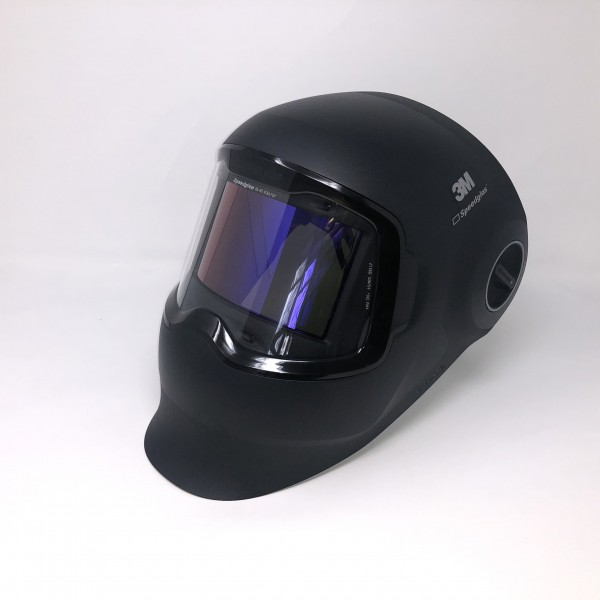 Speedglas G5-02 mit gebogenem Automatik-Schweißfilter (ADF), Kopfband, Reinigungstuch und Tasche