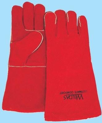 MAG-Handschuhe, gefüttert, 5-Finger, rot, Länge: 34 cm, Gr. L