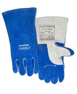 Comfoflex-Rindspaltleder Handschuh 5-Finger blau für höhere Temp