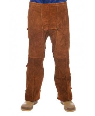 Lava Brown 102 cm länge spalt Rindleder Beinschürze mit offenem Rücken