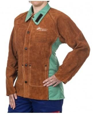 Lava Brown, Arc Queen Schweißer Jacke für Damen, mit spalt Rindleder Vorseite und feuerresistentem R