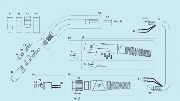 Gasdüse TBI 250 NW 11mm L=56,2mm, konisch für M6